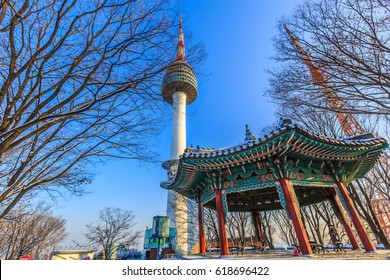 Seoul Tower in winter at Namsan mountain, Seoul, South Korea