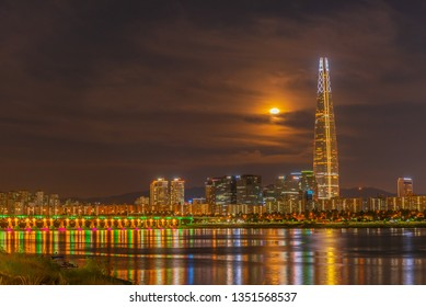 Seoul twilight sunset and lotte tower at han river in Seoul,south Korea.