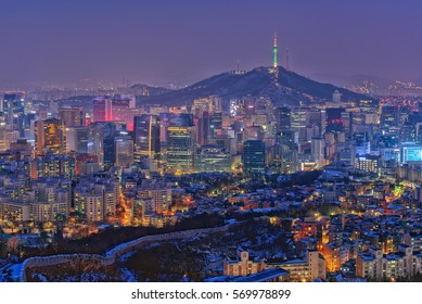 Seoul in winter At night, light, colorful