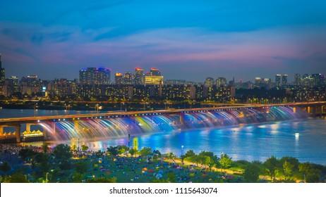 Seoulcity South Korea. Hangang River adn Rainbow founta in Seoul, South Korea.