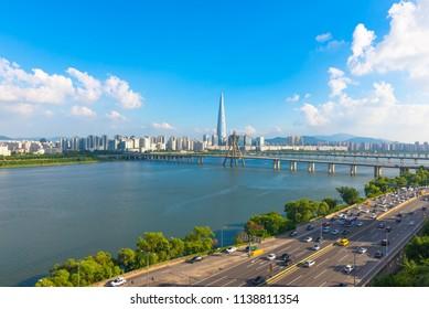 Seoulcity South Korea. Hangang River and bridge