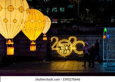 SEOUL,KOREA : December 17, 2019  view of Cheonggyecheon stream in night.(Seoul Christmas Festival)