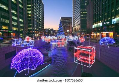 Seoul/Korea - January 6, 2011 : Cheonggyecheon Stream Night View