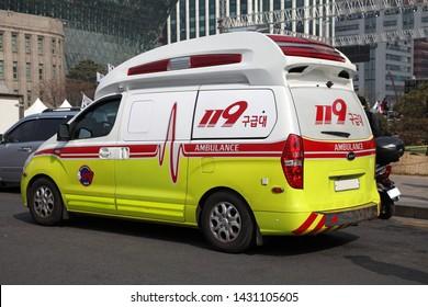 Seoul/Korea - March 1, 2019 : Korean ambulance car (119 Emergency medical services)