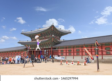 Seoul/Korea - May 18, 2011 : tightrope walking performance - Gyeongbokgung Palace, Seoul, Korea