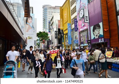 Seoul/Korea_May 19 2018: Seoul is a shopping mecca, covering anything from small boutique shops and market to enormous shopping centers. Myeongdong Shopping Street