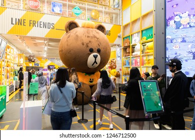 Seoul,Korea-October 22, 2018:People taking photo in front of line store myeongdong street, Seoul, South Korea