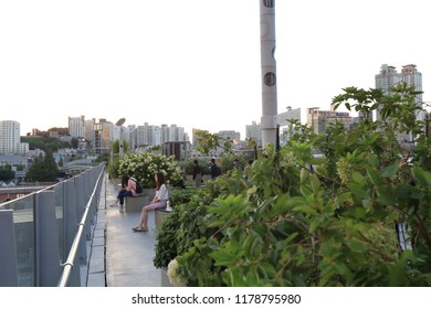 Seoullo 7017(Sky Way) in Seoul, Korea - September 8, 2018 : It was first opened on May 20, 2017 by replacing the existing Seoul Station highway with a public garden. It became a hot place.