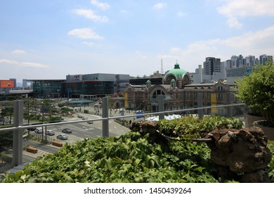 Seoullo 7017(Sky Way) in Seoul,Korea- Jun,2019 : The existing highway was converted into a public garden in 2017. It became hot place in Seoul. You can see the scenery around Seoul Station from here.