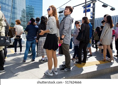 SEOUL-May 5, 2015. People in the street Of Seoul, South Korea.