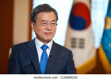 SEOUL,REPUBLIC OF KOREA/JUNE 20,2018: President of Republic of Korea Moon Jae-in  during an interview with Russian television