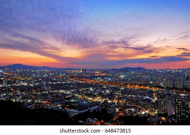 Seoul's night view from the mountain