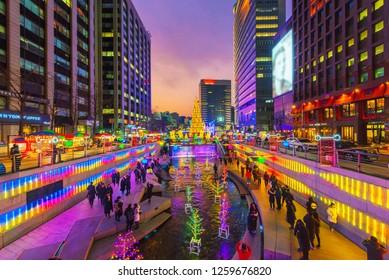 Seoul,South Korea - 16 December 2018 : Cheonggyecheon Christmas Festival in Seoul city, South Korea