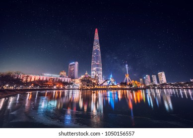 Seoul,South Korea - 17 december 2017 : Lotte world and Milky Way Galaxy in Seoul, South Korea.