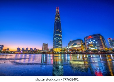 SEOUL,SOUTH KOREA - 17 DECEMBER 2017 : Twilight winter at Lotte tower and Ice reflection in Seoul city,South Korea