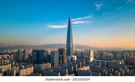 Seoul,South Korea - 27 January 2018 : Aerial View Lotte tower at Jamsil,Cityscape in seoul,south korea