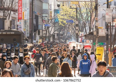SEOUL,SOUTH KOREA - APRIL 7,2018: many Asian people visit,tour and shopping in myeong dong street at Seoul,South Korea