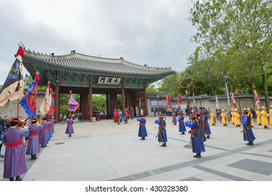 SEOUL,South Korea - MAY 24: Changing of the Royal guard ceremony at the  Deoksugung Palace. MAY 24, 2016 in Seoul, South Korea