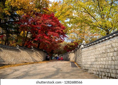 Seoul/South Korea - Nov 10, 2018 : Visitors are wearing a Korean traditional clothing and taking some photos in pathway  at entrance of Huwon (Secret Garden) at Changdeokgung Palace in Autumn