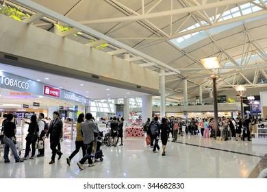 SEOUL,SOUTH KOREA - NOVEMBER 16:Travelers and shops at Seoul International Airport. This is the Seoul Incheon International Airport. November 16, 2015 Seoul, South Korea