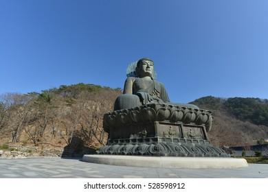 SEOUL,South Korea -  November 28: Buddha in the Sinheungsa Temple at Seoraksan National Park. Vovember 28, 2016 in Seoul, South Korea