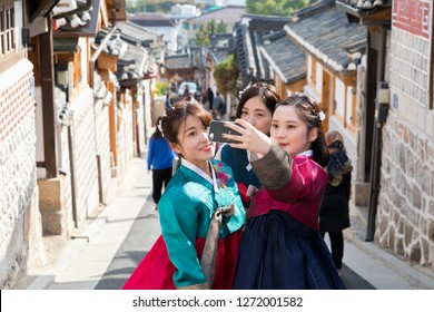 SEOUL,SOUTH KOREA - OCT 25,2018 :Unidentified people visit Bukchon Hanok Village in Seoul,South Korea on October 25,2018. Bukchon Hanok Village is preserved to show a 600-year-old urban environment