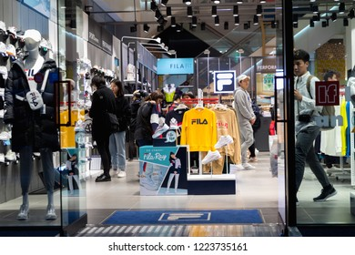 SEOUL,SOUTH KOREA - OCTOBER 21, 2018: Fila store at Hongdae district popular fashion South Korea; Fila, one of the largest sportswear manufacturing companies in the world, has offices in 11 countries