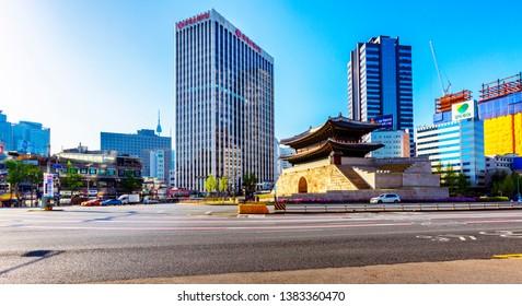 Seoul,South Korea-April 27,2019:Sungnyemun gate (Namdaemun Market) in Seoul, South korea