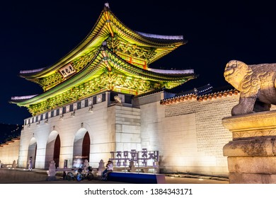 Seoul,South Korea-April 29,2019:long exposure Beautiful Old Architecture at  gyeongbokgung Palace night time in Seoul Seoul,South Korea