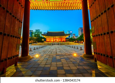Seoul,South Korea-April 29,2029:Beautiful Old Architecture Deoksugung Palace at night Seoul,South Korea