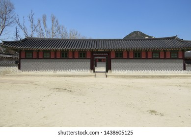 Seoul,South Korea-April 4th 2019: Scenery at Gyeongbokgung palace area in Seoul, South Korea, One of the attraction place among tourist when coming to South Korea