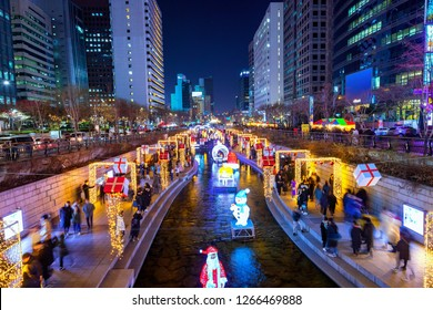 SEOUL,SOUTH KOREA-DECEMBER 24,2018: Peple  visit and tour Colorful Christmas light at cheonggyecheon stream in Seoul,south Korea