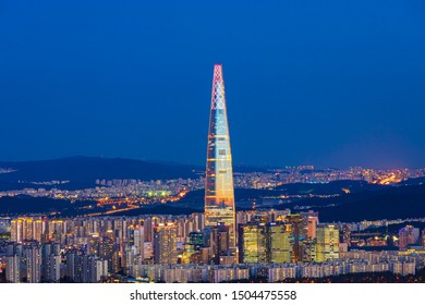 Seoul,South Korea-July 8,2019:Night cityscape of Seoul viewpoint from Yongmasan mountain in Seoul,South Korea.