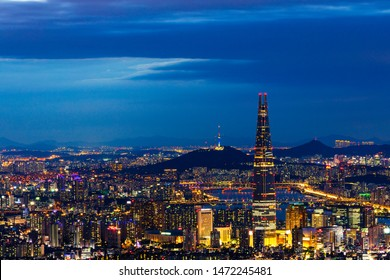 Seoul,South Korea-June 10,2019:Viewpoint of Seoul downtown ,Hangang river;Seoul tower,and Lotte tower best landmark in Seoul,South Korea Viewpoint from Namhansanseong mountain