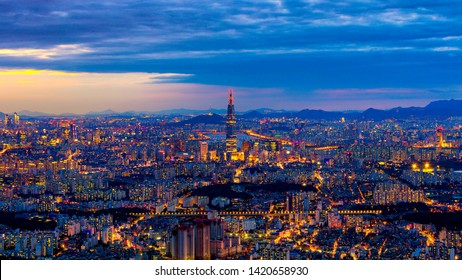 Seoul,South Korea-June 10,2019:Night cityscape of Seoul downtown ,Hangang river;Seoul tower,and Lotte tower best landmark in Seoul,South Korea Viewpoint from Namhansanseong mountain