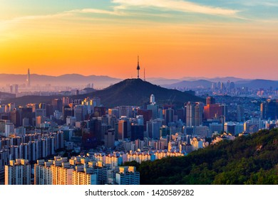 Seoul,South Korea-June 8,2019:Summer, Sunrise and  Skyline of Seoul viewpoint from Ansan mountain in Seoul,South Korea