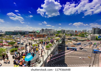 SEOUL,SOUTH KOREA-MAY.5:View of Seoullo 7017 sky park in Seoul city and Seoul station in holiday on May 5,2016