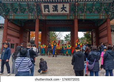 Seoul/South Korea-Nov 2019: The Changing of the Royal Guards at Deoksugung Palace