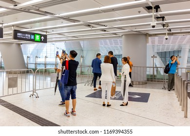Sep 01, 2018, Hong Kong, China: Inside view of Express Rail Link- Hong Kong West Kowloon Station. In the picture, people visit the station at the Open Days. This station will Grand open at 23 Sep 2018