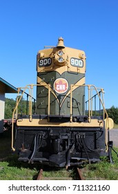 Sep. 02, 2017, Clarenville Newfoundland Canada - Canadian National Railway engine 900, restored to it's condition from the 1950's. Located at the Clarenville Heritage Museum on Hardwoods Road.