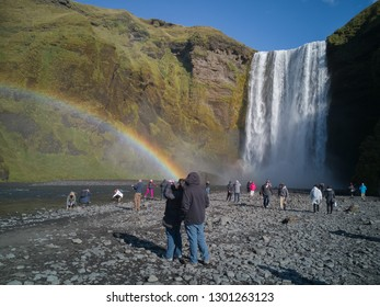 SKÓGAFOSS - SEP 13 : Unidentified people visiting a famous waterfall, on September 13, 2017 in Skógafoss, Iceland.