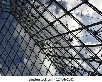 Sep 18/2017 Morning at the Glass Pyramid of Louvre Museum, Paris, France