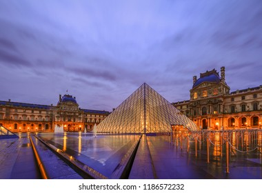 Sep 19/2017 Early morning with the light rain at Louvre Museum, Paris, France