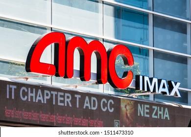 Sep 20, 2019 San Francisco / CA / USA - AMC IMAX logo above the entrance and box office in downtown San Francisco