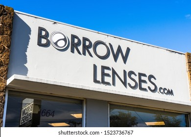 Sep 25, 2019 San Carlos / CA / USA - BorrowLenses sign at the renting office in San Francisco Bay Area; BorrowLenses, is a rental company for high-end photography equipment, was acquired by Shutterfly