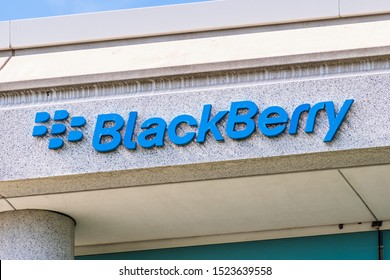 Sep 25, 2019 San Ramon / CA / USA - Blackberry logo at their HQ  in East San Francisco Bay; BlackBerry Ltd (former developer of the BlackBerry smartphones) specializes in enterprise software and IOT