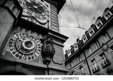 SEP 28, 2013 Bern, Switzerland - Old vintage close up details and painting of astronomical Zytglogge clock tower. Famous old town area attraction