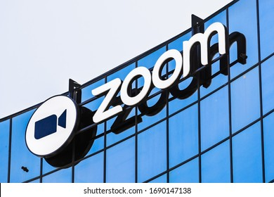 Sep 3, 2019 San Jose / CA / USA - Close up of Zoom sign at their headquarters in Silicon Valley; Zoom Video Communications is a company that provides remote conferencing services using cloud computing