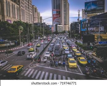 Sep 9 2017: Bangkok Thailand:aerial scene view of Asoke - Sukhumvit Intersection, the most famous traffic jam in Bangkok