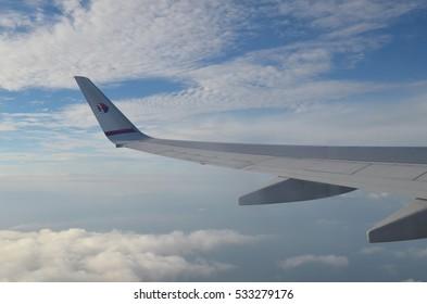 SEPANG, MALAYSIA - 1ST MARCH, 2016: View from window of Malaysia Airline flight from Sibu to Kuala Lumpur International Airport (KLIA), Sepang, Malaysia.
